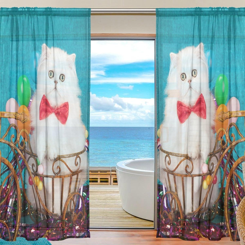 Vantaso Sheer Curtains 78 inch White Persian Kitten Vintage bluee for Kids Girls Bedroom Living Room Window Decorative 2 Panels