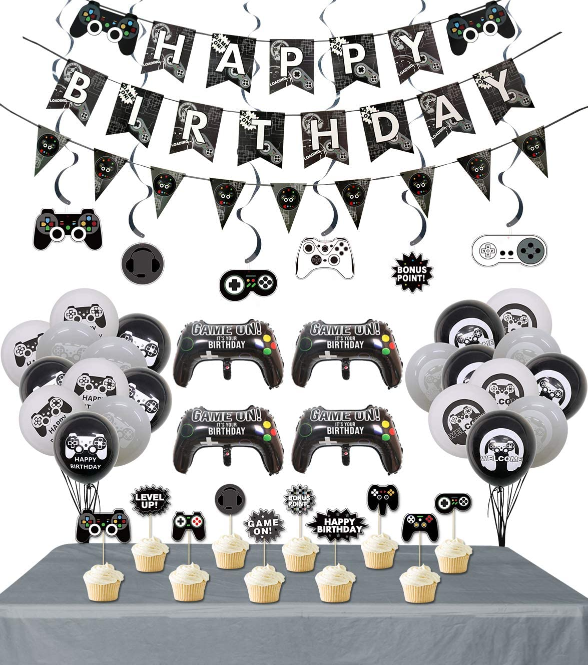 Video Game Party Supplies, 3 Pcs Gaming Themed Happy Birthday Ba