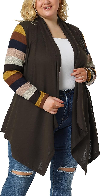 Agnes Orinda Women's Plus Size Cardigan Stripe Asymmetric Knit Colorblock Work Cardigans