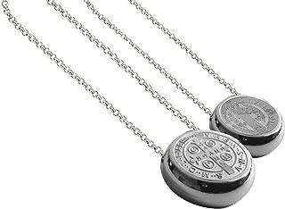 Ben Junot USA - Original Thick Saint Benedict Medal Necklace - 15 Mm Round San Benito - Saint Benedict Medal - 0.6 Inches Diam