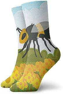 SuBenSM A Hornet in The Field of Flowers Christmas Ankle Socks Casual Cozy Crew Socks for Men, Women, Kids
