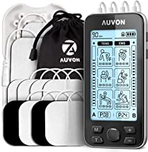 """AUVON 4 Outputs TENS Unit EMS Muscle Stimulator Machine for Pain Relief Therapy with 24 Modes Electric Pulse Massager, 2"""" and 2""""x4"""" Electrodes Pads (Black)"""