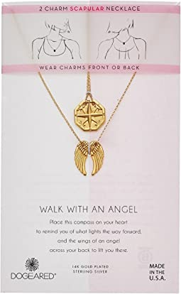Dogeared Walk with An Angel, Two Charm Necklace Compass and Angel Wing Scalpular