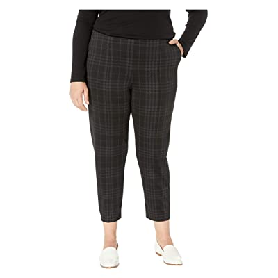 HUE Plus Size Seamed Luxe Ponte Skimmer Leggings (Black/Printed Plaid) Women