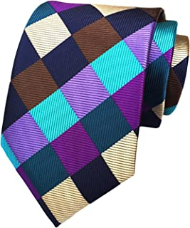 MENDENG Men's Classic Silk Woven Check Business Tie Plaid Necktie Ties
