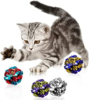 24 Mylar Crinkle Balls for Cats - Soft, Lightweight & Fun Toy for Both Kittens & Adult Cats - Shiny & Stress Buster Toy - ...