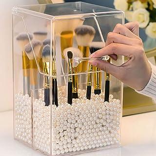 Cosmetische Opslagorganisator Make-upborstelhouder, Make-upborstelorganizer Met Deksel Opslag Stofdicht, Voor Kaptafels en...