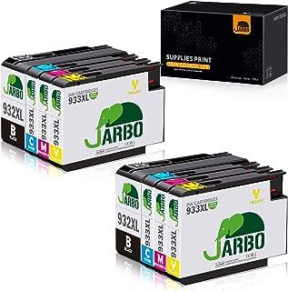 JARBO Reemplazo 933XL para cartuchos de tinta HP 932 XL 933 XL () Alto rendimiento Compatible con HP Officejet 6600,6700,6100,7612,7110 y 7610 Pack de 8 2 Negro,2 Cian,Magenta 2,2 Amarillo
