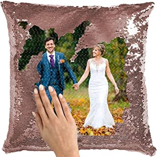 Aqumax Sequin Mermaid Pillow Cover Custom Photo Personalized with Your Photos,Decorative Wedding Keepsake Pillow Magic Reversible Throw Pillowcases Decorative Cushion&Pillow Cover Rose Gold
