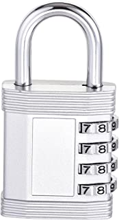uxcell 4 Digit Combination Luggage Lock Travel Resettable Padlock Zinc Alloy Silver Tone 79x40x14mm
