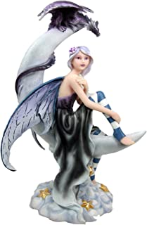 Atlantic Collectibles Large Celestial Crescent Moon Fairy With Pet Dragon Figurine 13
