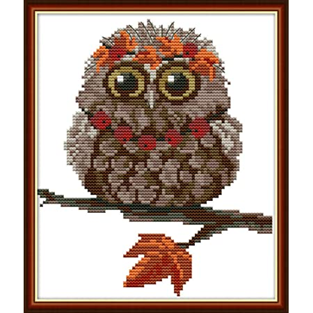 Cross Stitch Kits, Awesocrafts Owl Orange Leaf Cute Bird Autumn Easy Patterns Cross Stitching Embroidery Kit Supplies Christmas Gifts, Stamped or Counted (Owl 6, Counted)