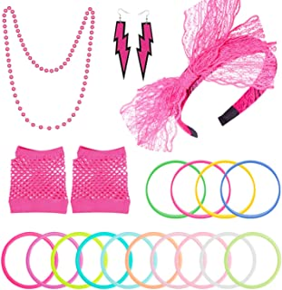 PAXCOO 80s Accessories Costumes for Women Girls Including Headband Earrings Fishnet Gloves Necklace Bracelets Rose Red