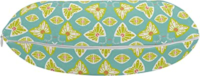 """Ambesonne Abstract Travel Pillow Neck Rest, Flourish Damask with Butterfly-Like Motif Continuous Pattern, Memory Foam Traveling Accessory for Airplane and Car, 12"""", Seafoam Yellow Green"""