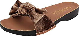 Catwalk Women's Velvet Bow Detail Slides