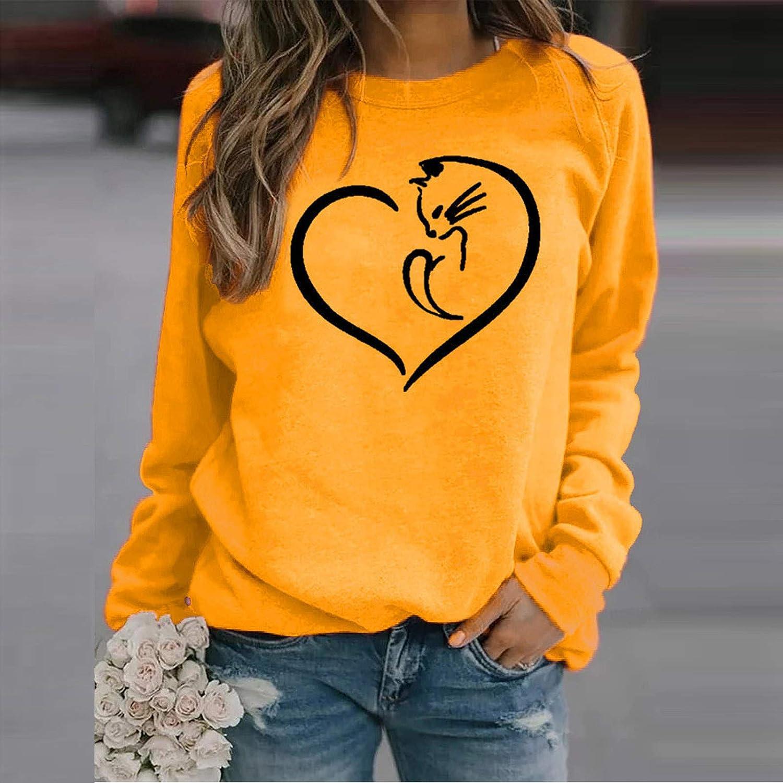 Estampado Amor Pullover Camisetas,Combinacion Interior Mujers,Sudaderas De Manga Larga Calentita Chicas Adolescentes H ZARLLE Sudadera Basica,Sueltas Camiseta Mujer