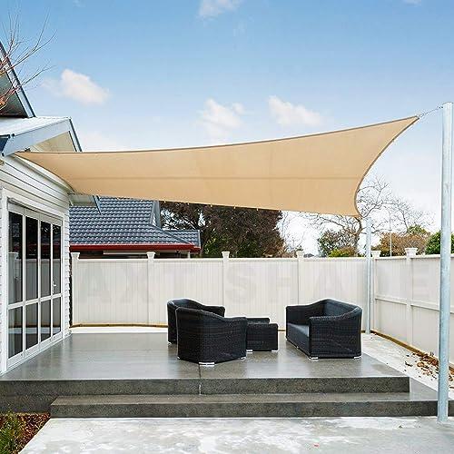AXT SHADE Toldo Vela de Sombra Rectangular 2 x 4 m, protección Rayos UV Impermeable para Patio, Exteriores, Jardín, C...