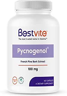 Pycnogenol 100mg (60 Capsules) - French Maritime Pine Bark Extract - No Stearates - Gluten Free - Non GMO