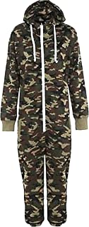 Aelstores Kids Army Camo Print Onesie Hooded Jumpsuit All in One Boys Girls Fleece 7-14 Years