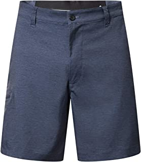 Men's Stretch Water Resistant Lightweight Flat Front Dress Golf Hybrid Shorts with Zip Pockets