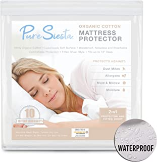 Pure Siesta Waterproof Mattress Protector Full Size 100% Organic Cotton Hypoallergenic Breathable Mattress Pad Cover, 10 Years Warranty, Fitted Sheet Style Against Bed Bugs, Dust mite.
