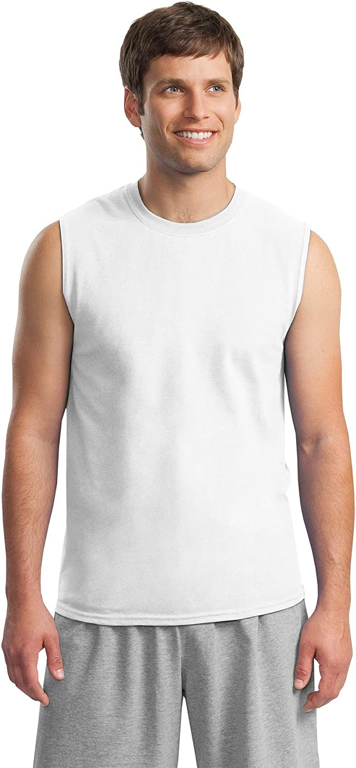 Gildan Activewear Ultra Cotton Sleeveless TShirt, L, White