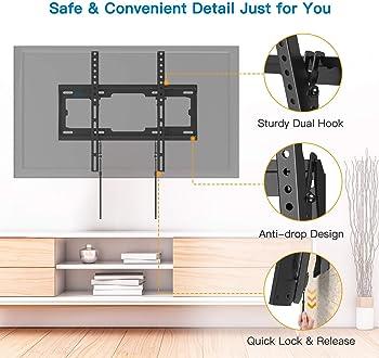 Tilt TV Wall Mount Bracket Low Profile for Most 26-55 Inch LED LCD OLED Plasma Flat Curved Screen TVs, 8 Degrees Tilt...