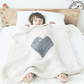 Wowelife Baby Blanket Heart Knitted Toddler Blanket Patterns Superior Soft 38x30 inch for Newborn, Infant and Kids, Grey/White(White)