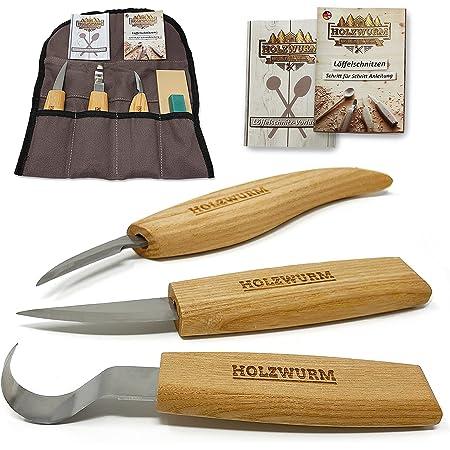 HOLZWURM Set de couteau sculpture bois avec sac, instructions (EN) et modèles, ensemble d'outils de sculpture idéal pour les cuillères à découper