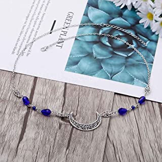 Yalice Boho Crescent Moon Head Chain Vintage Crystal Headpieces Hair Acessories for Women and Girls