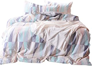 Wake In Cloud - Geometric Comforter Set, 100% Cotton Fabric with Soft Microfiber Fill Bedding, Abstract Triangle Modern Pattern Printed (3pcs, Queen Size)