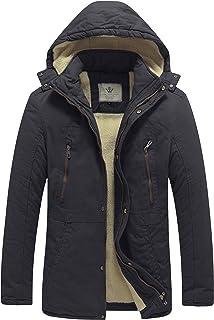 WenVen Men's Winter Washed Cotton Sherpa Lined Parka Jacket