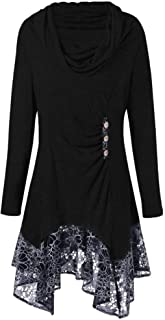Andongnywell Women Cowl Neck Asymmetric Dress Button Long Sleeve Irregular Tunic Tops Lace Hem Patchwork Shirt Dress