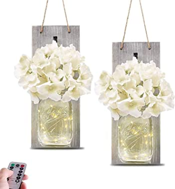 Mason Jar Sconce Wall Decor—Home Wall Decor with Two Remote Control, Farmhouse wall decor with LED Fairy Lights and Rustic Wo