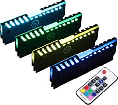 RGB RAM Shell Memory Glowing Heatsink for Computer, LED Cooling Vest Fin Heat Sink with Controller for DDR3 DDR4 (4 Pack, M Series)