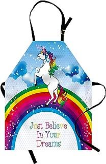 Ambesonne Fantasy Apron, Unicorn Surreal Myth Creature Before Rainbow Clouds Star Fantasy Girls Fairytale, Unisex Kitchen Bib with Adjustable Neck for Cooking Gardening, Adult Size, Blue Rainbow