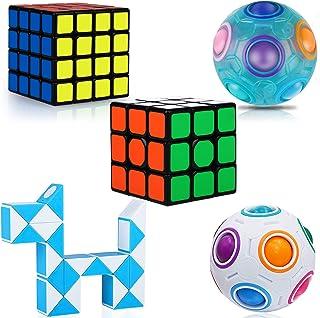KidsPark Cube Set 5 Pack 3D Puzzle Toys 3X3 + 4X4 Speed Cube + White Magic Rainbow Ball+ Luminous Magic Rainbow Ball + Mag...
