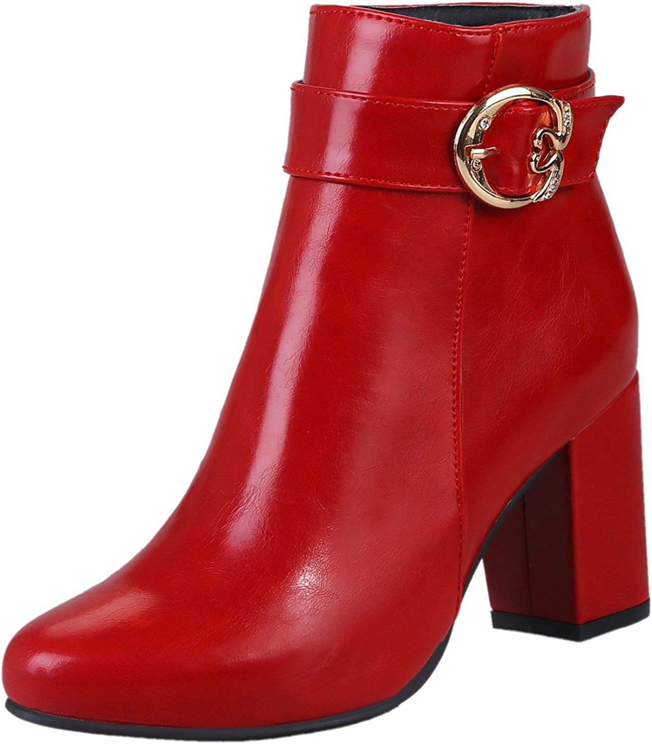 Rongzhi Womens Ankle Boots Chunky Block Heel Buckle Strap Zipper Dress Party Formal Booties Pointed Toe