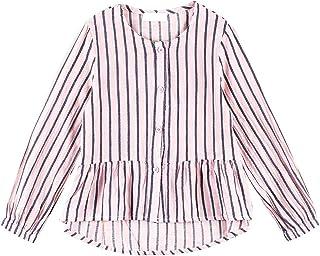 Toddler Girls Loose Ruffle Hem Top Round Neck Strip Casual Button-Down Shirt