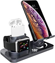 Charging Stand for Apple Watch Series 5/4/3/2/1 Airpods 2/1,GUAGUA 3 in 1 Rotating Charging Dock Station for iPhone 11 Pro Max X XS MAX XR 8 Plus 7 6s Plus Samsung Note 10 Plus S10 Plus S9 Space Gray