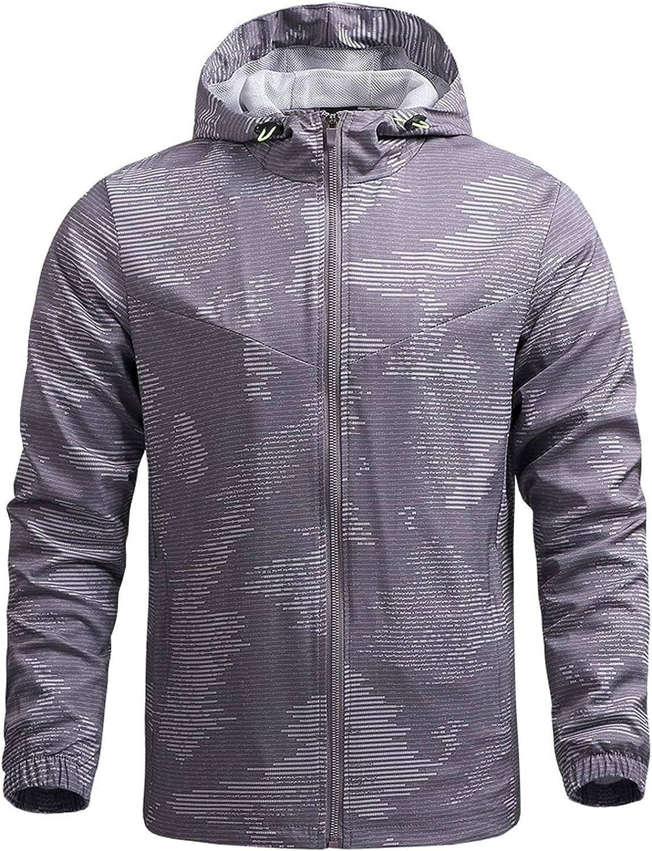 Mens Jackets Lightweight Waterproof Hooded Windbreaker Slim Fit Breathable Jacket Casual Long Sleeve Zip-Up Trench Coat
