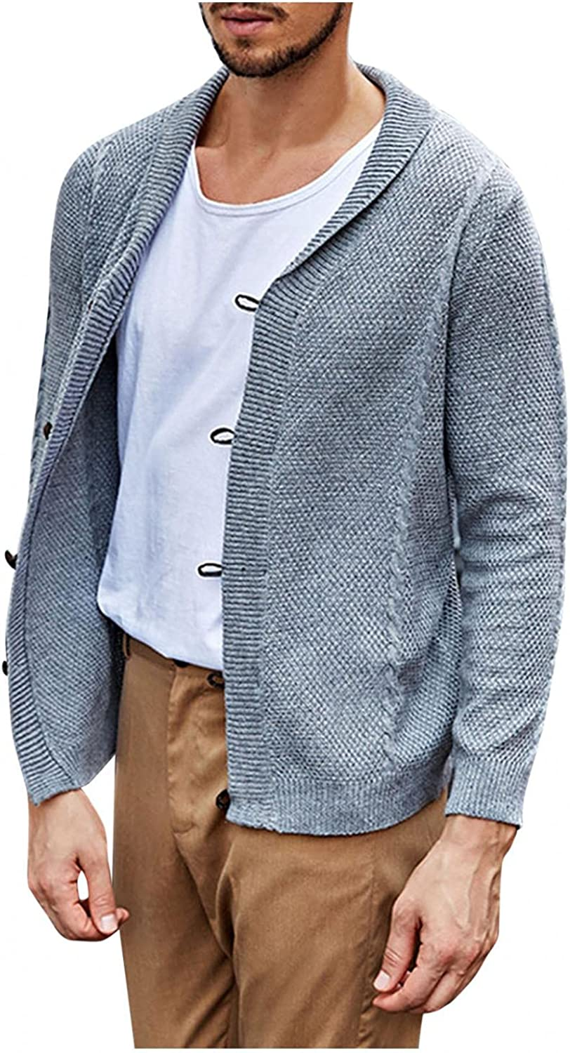 Men's Knit Cardigan Sweater Coat V Neck Long Sleeve Pullover Tops Solid Color Lapel Single-Breasted Work Blouse