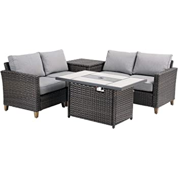 Amazon Com Grand Patio Outdoor Conversation Set With Fire Pit 6 Pcs Outdoor Furniture Set Sectional Sofa Set Wicker Patio Sofa Fire Pit Table Backyard Garden Set With Rattan Side Cabinet