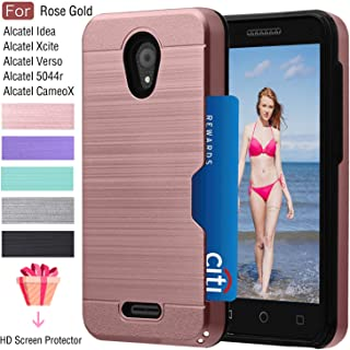 Alcatel IdealXcite/Verso/CameoX/Xcite Version 5044r Case with Card Slots Holder, Atump Built-in HD Screen Protector[Wallet][Metal Texture] Shockproof Cover Cases for Alcatel 5044R Rose Gold