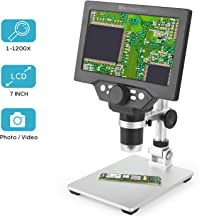 LCD Digital Microscope 7 in HD Screen 1200X Magnification Zoom Camera Video Recorder Angle Adjustable Microscope, 8 LED Lights, Built-in 3000 mAh Battery Rechargeable (7 inches)