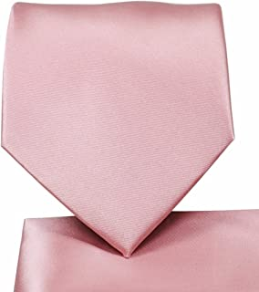 Oliver George Solid NeckTie & Matching Pocket Square Handkerchief Set