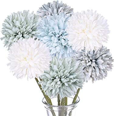 DearHouse Artificial Flowers, 7 Pcs Fake Flowers Silk Artificial Hydrangea Bridal Wedding Bouquet for Home Garden Party Weddi