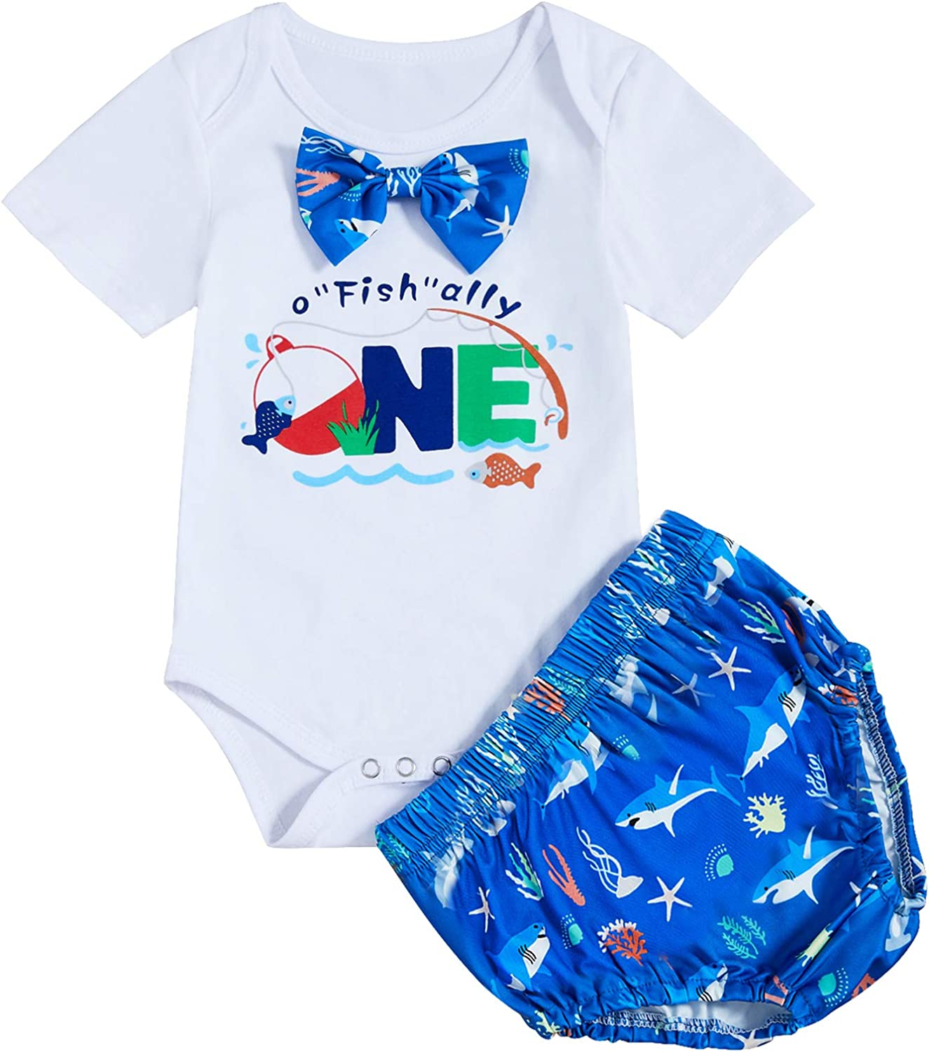O-Fish-Ally One Boys First Birthday Outfit Toddler Bow Tie Short Sleeve Romper+Diaper Cover Cake Smash Outfit
