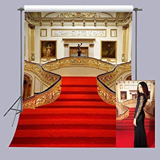 FUERMOR 5x7ft Golden Hall Red Carpet Backdrop Wedding Party Events Photography Props Room Mural Photo Background RQ012