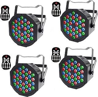 Stage Lights KisMee 36 LEDs RGB Sound Activated DJ Par Lights with Remote Control Compatible with DMX, Various Modes LED Up Lights for Wedding Event Party Festival (36LEDs Par Lights 4 Sets)